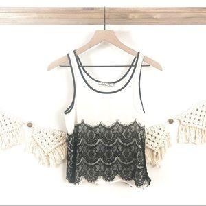 Chloe K | Black and White Lace Tank